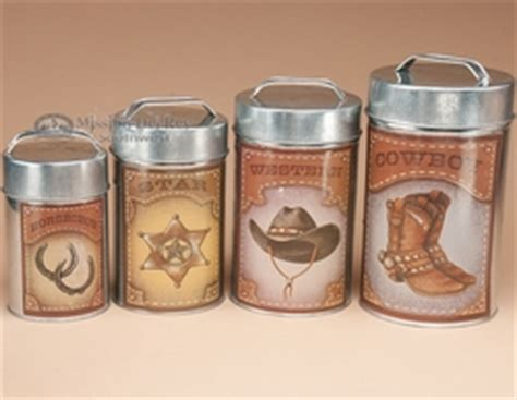 Western Kitchen Canister Sets by 4 Pc Rustic Western Cowboy Tin Kitchen Canister Set