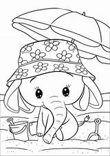 Coloring Elephant Adorable sketch template