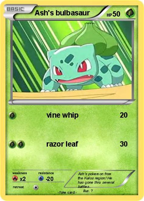 Deposit bulbasaur and squirtle into one of your boxes in pokémon home. Pokémon Ash s bulbasaur 14 14 - vine whip - My Pokemon Card