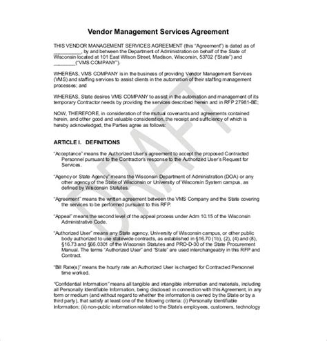 professional agreement format examples