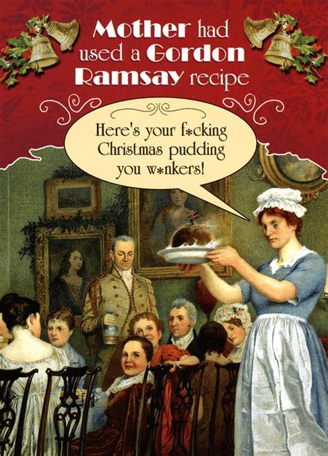 rude funny card christmas pudding gordon ramsay recipe comedy card company