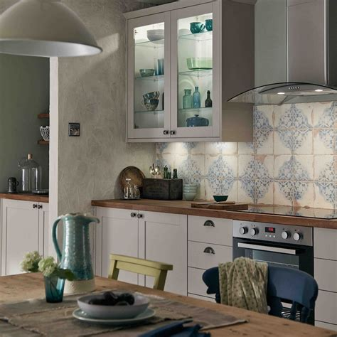 patterned tiles and a modern shaker style kitchen