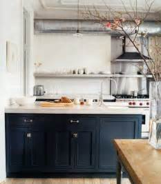 Island Kitchen Nantucket Drab Or Fab Navy Blue Cabinets Designstyle