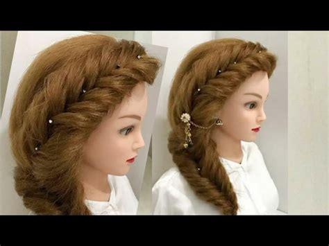 easy  beautiful side braid hairstyle youtube