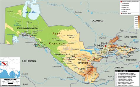 large physical map  uzbekistan  roads cities