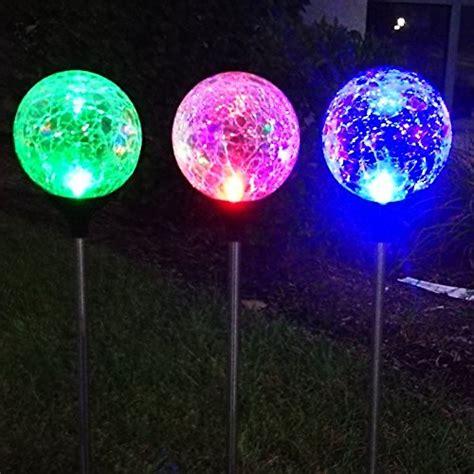 sogrand 3pcs solar lights outdoor 3 color led crackle