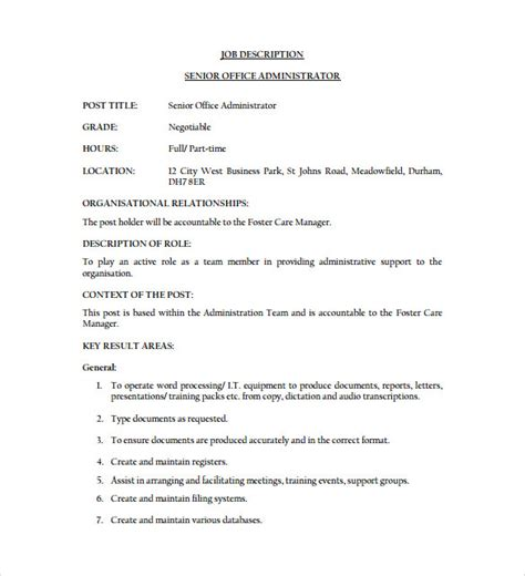 Officer Description Template Description Roles And Responsibilities Template