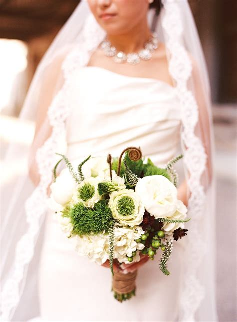 Bridal Bouquet Of White Peony Hydrangea Veronica Green