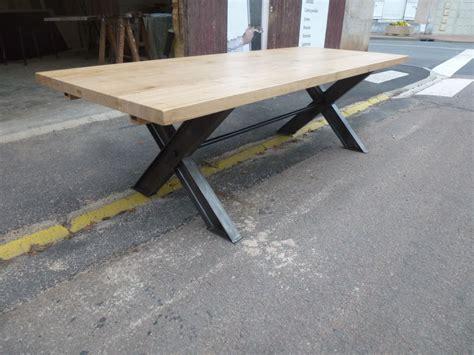 pied en fer table industrielle pieds x en fer et plateau ch 234 ne 224 rallonges robin sicle