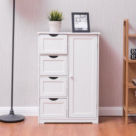 White Clothes Cupboard by Costway Wooden 4 Drawer Bathroom Cabinet Storage Cupboard