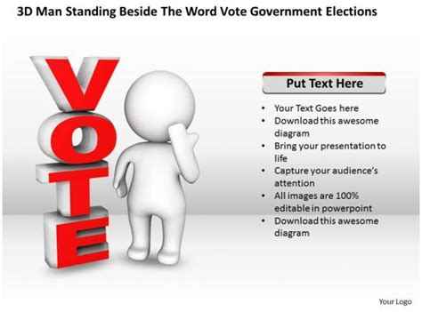 man standing   word vote government elections