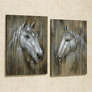 Rustic horses wall art plaque set