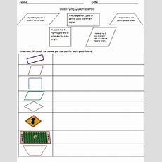4th Gradeclassifying Quadrilaterals (common Core Worksheets) Tpt