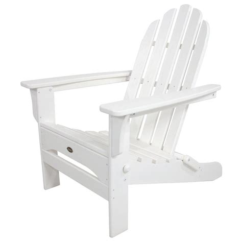 home depot plastic adirondack chairs trex outdoor furniture cape cod classic white folding