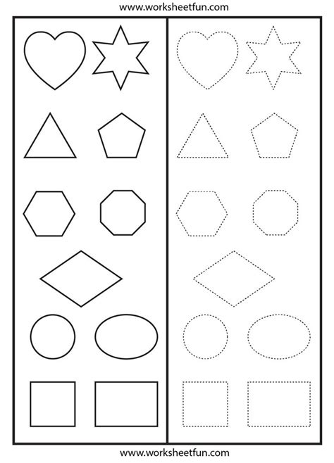 shapes tracing worksheet printable worksheets shape