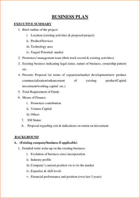 business plan template pdf 5 sle of business plan pdf project