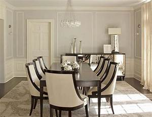 Cream and brown dining room with bone inlay