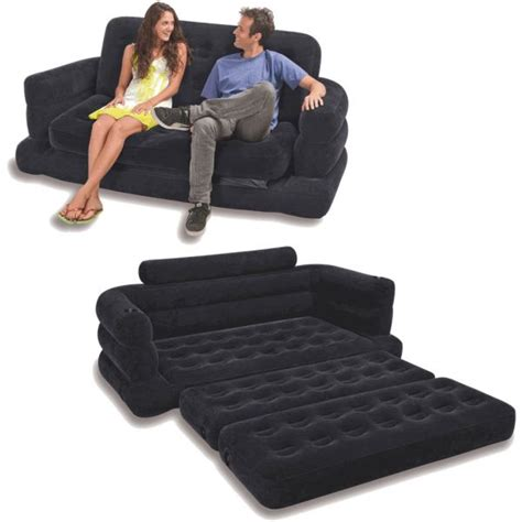 intex  person inflatable pull  sofa bed black