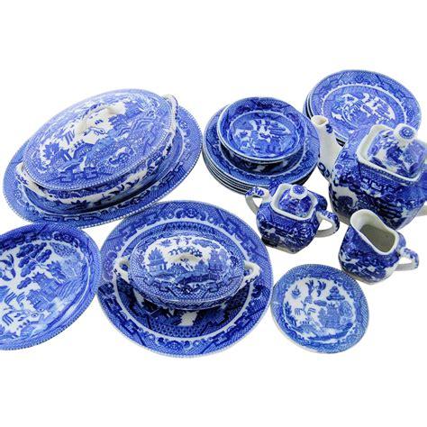 srikandi set blue vintage blue willow porcelain china childs play set