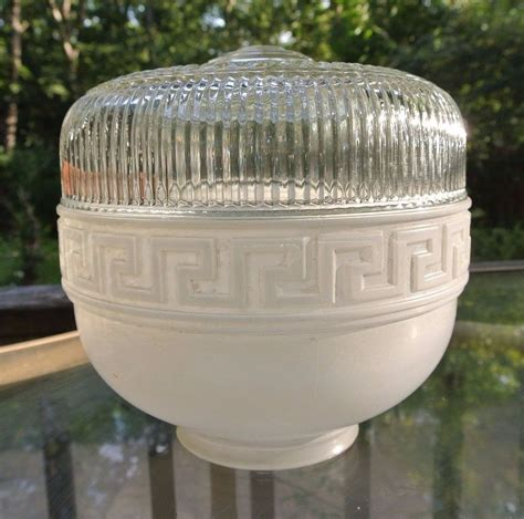 wallingford l and shade vintage art deco white clear glass ceiling light shade