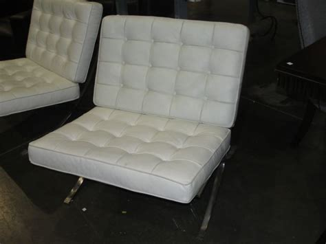 contemporary chrome  white leather living room accent chair