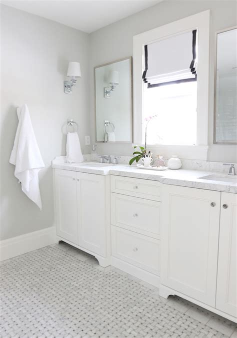 Bathroom Paint Colors With White Tile by Gray Basketweave Floor Tile Transitional Bathroom