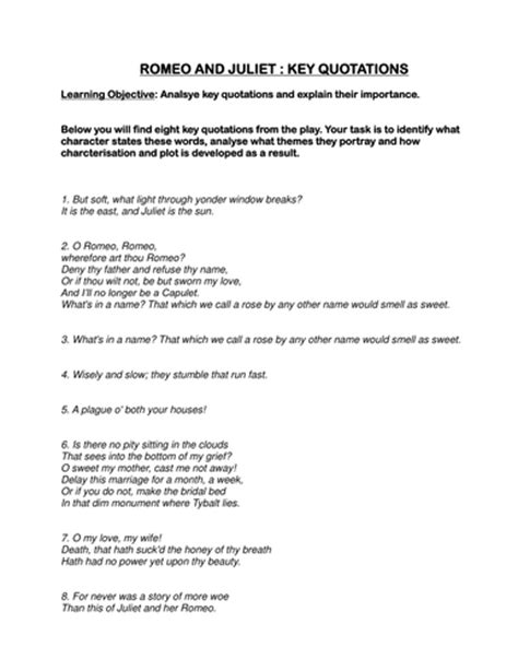 romeo juliet analsying key quotations worksheet by maz1