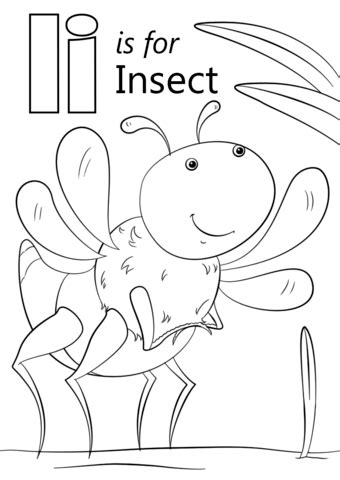 letter i is for insect coloring page free printable 391 | letter i is for insect coloring page
