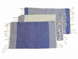 Set De Table Bleu : fouta set de table produit artisanal ~ Teatrodelosmanantiales.com Idées de Décoration