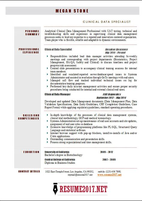 clinical data specialist resume  examples