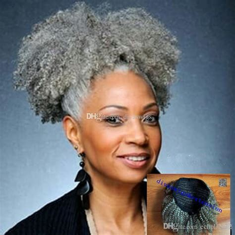 new hair style for gray hair extension silver grey afro puff 4610