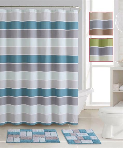 Shower Curtain Set - striped shower curtain bath rug mat set cotton curtains