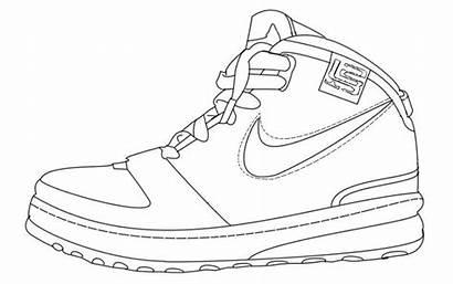 Template Shoe Sneaker Drawing Shoes Nike Sneakers