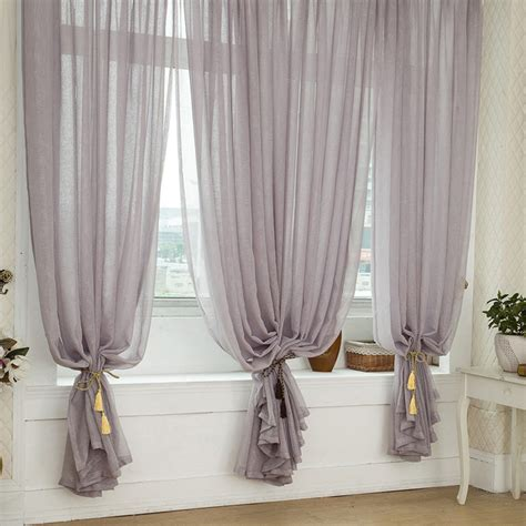 sheer gray curtains grey color solid burlap sheer curtains