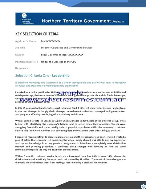 Selection Criteria Cover Letter by Sle Cover Letter Key Selection Criteria Sle Resume