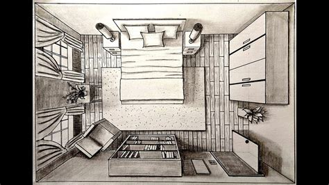 drawing  bedroom   point perspective birds eye