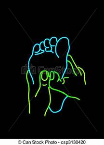 Stock graphy of Neon foot massage sign Neon sign