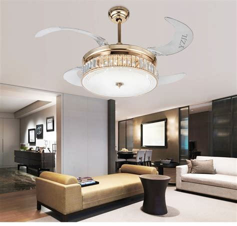 living room ceiling light fan crystal folding ceiling fan light telescopic modern