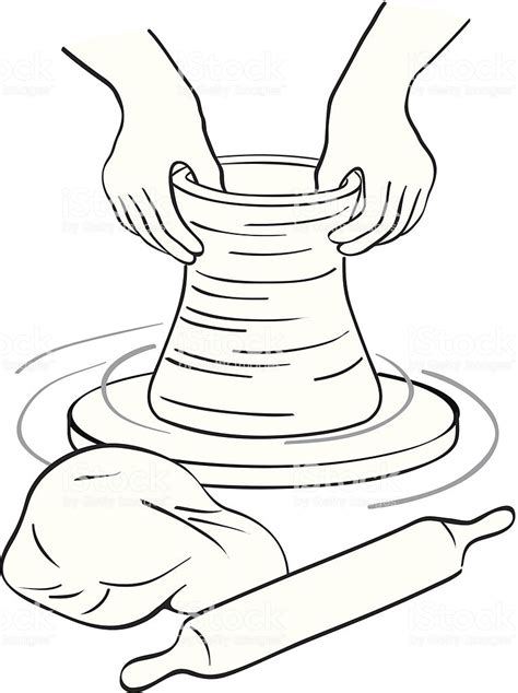 clay potters wheel stock vector art  images