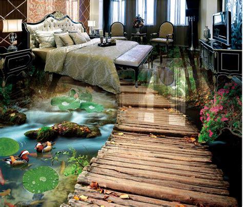 custom  floor tiles photo wallpaper bridge water