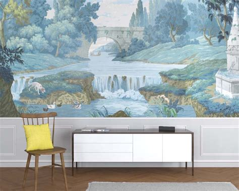 french countryside antique mural wallpaper papiers de