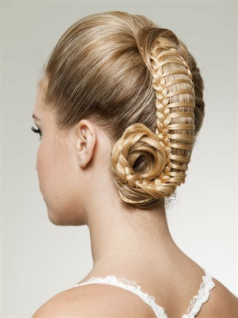 up style with woven hair resembling a ponytail captured within a net
