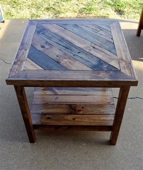 Arrange the supports vertically on the floor with one on both ends and one in the middle. 20 DIY Pallets Wooden Side Tables And End Table Ideas - Pallets Platform
