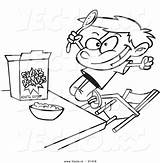 Eating Cartoon Cereal Coloring Boy Sugary Outlined Vector Oatmeal Bowl Template Toonaday Leishman Ron Vecto Rs sketch template