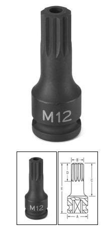 3/8 Inch M14 Tamper Proof Triple Square Driver | Grey