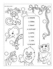animal worksheet   zoo animal worksheet