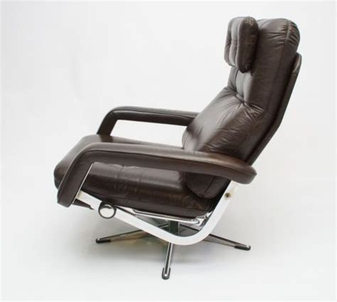 vintage recliner chair swivel reclining chrome and leather chair 3252