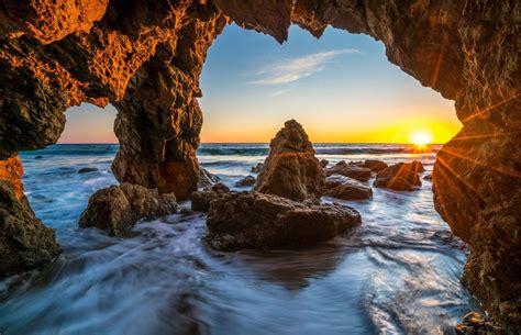 ocean sunrises  sunsets usa malibu crag nature