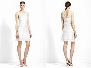herve leger inspired little white wedding dress onewedcom With white wedding rehearsal dress