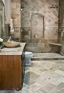 1001 idees deco pour la salle de bain travertin With salle de bain design avec vasque en pierre naturelle travertin